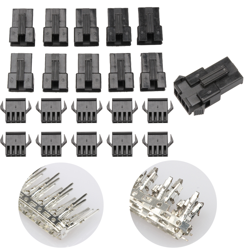 100PCS SM Pin Way Electrical Terminals 4-Hole Bare Dupont Connector Set Male/Female Wire Jumper Connectors Kit JST-2.54mm 1000pcs dupont jumper wire cable housing female pin contor terminal 2 54mm new