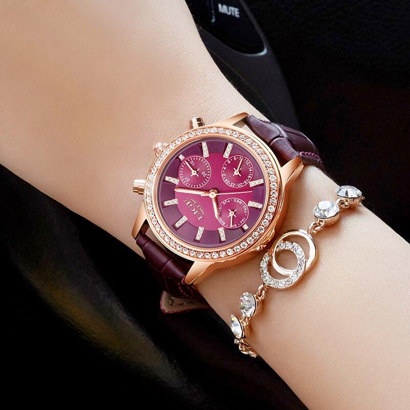 Relogio feminino Wanita Jam Tangan LIGE Merek Mewah Gadis Kuarsa - Jam tangan wanita - Foto 2