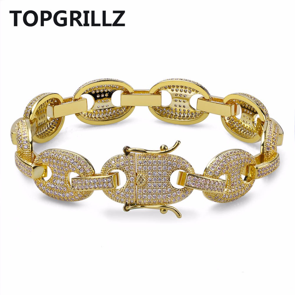 TOPGRILLZ Hip Hop Men Jewelry Bracelet Copper Iced Out Gold/Silver Color Plated Micro Pave CZ Stone Chain Bracelet 7Inch 8Inch new design stone bracelet men women popular stone bracelet skull micro pave cz beads skull male bracelet crown zircon bracelets