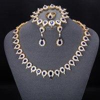 Чжэ вентилятор Мода AAA кубический циркон Роскошные ювелирные изделия наборы для Для женщин золото Цвет вечерние Юбилей свадебные синий зел