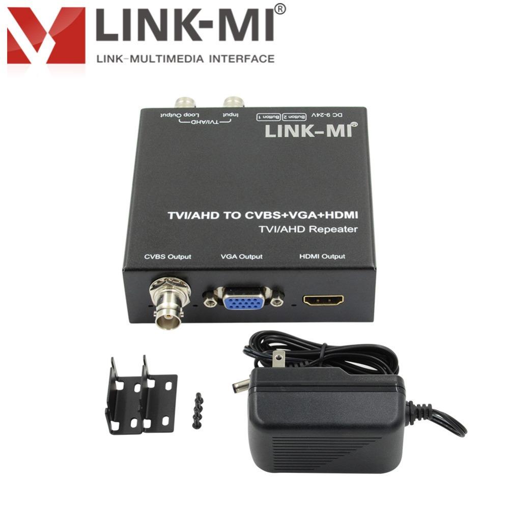 LINK-MI TVH2 hd video balun for AHD/TVI 720p/1080p video converter camera cctv video With 1xlooping TVI/AHD output 300M
