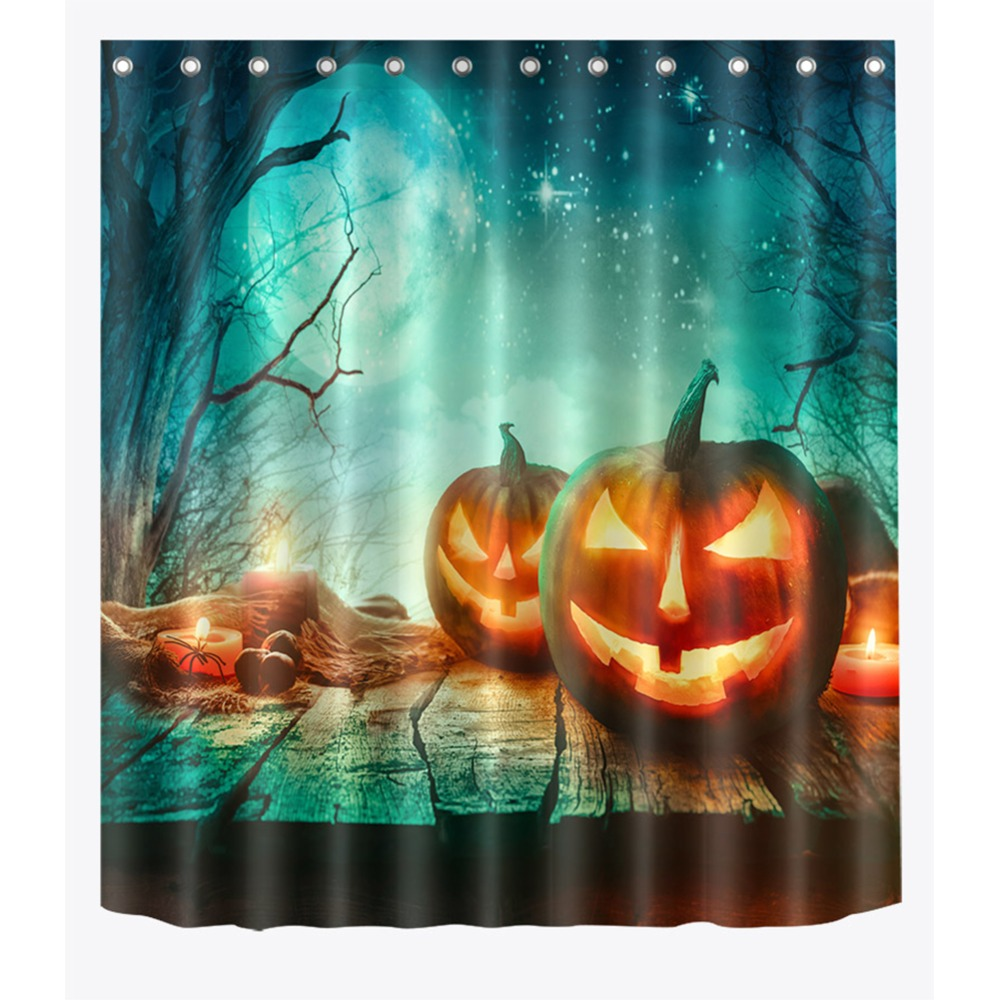 Lit Fabric 72 Halloween Lit Pumpkin Lamps On Wood Planks Bathroom Waterproof Fabric Shower Curtain Polyester 12 Hooks Bath Accessory Sets In Shower Curtains