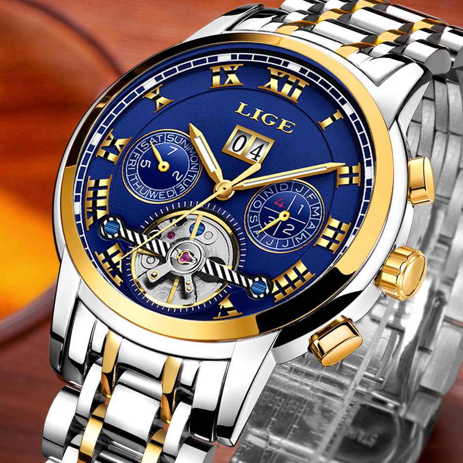 LIGE Luxus Marke Männer Voll automatische Mechanische Uhr Tourbillon Business Edelstahl Mann Kalender Uhren relogio masculino-in Mechanische Uhren aus Uhren bei  Gruppe 2