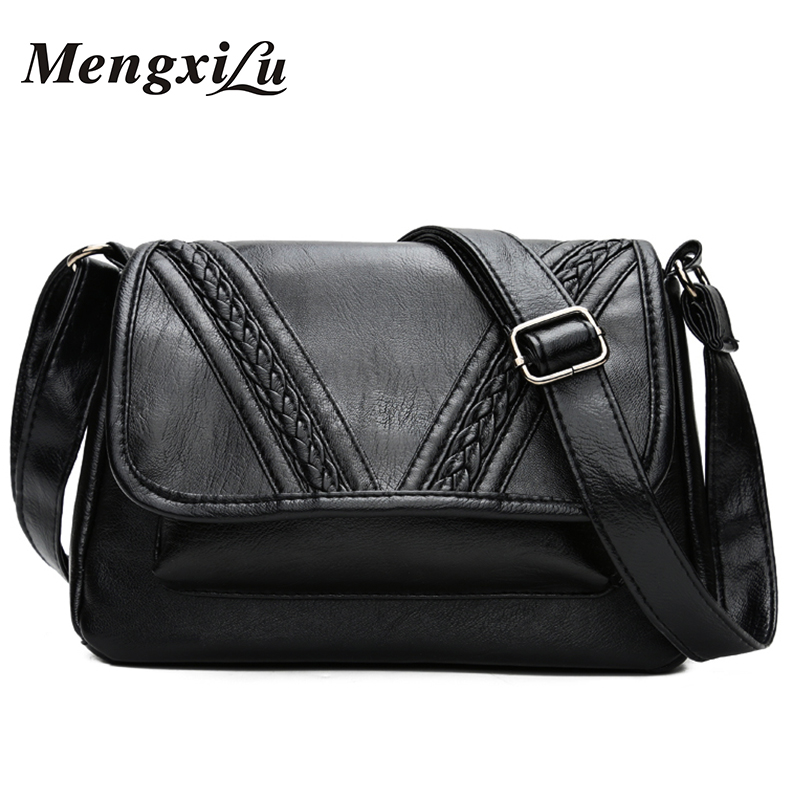MENGXILU Brand Soft Women Messenger Bag Weave Women Crossbody Bag High Quality Women Shoulder Bag Designer Pu Leather Handbag