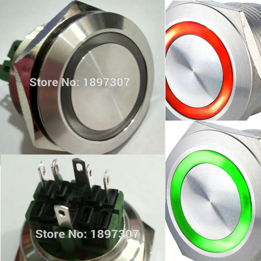 GREEN 16mm Anti-Vandal Button Momentary Stainless Steel Metal Push Button Switch