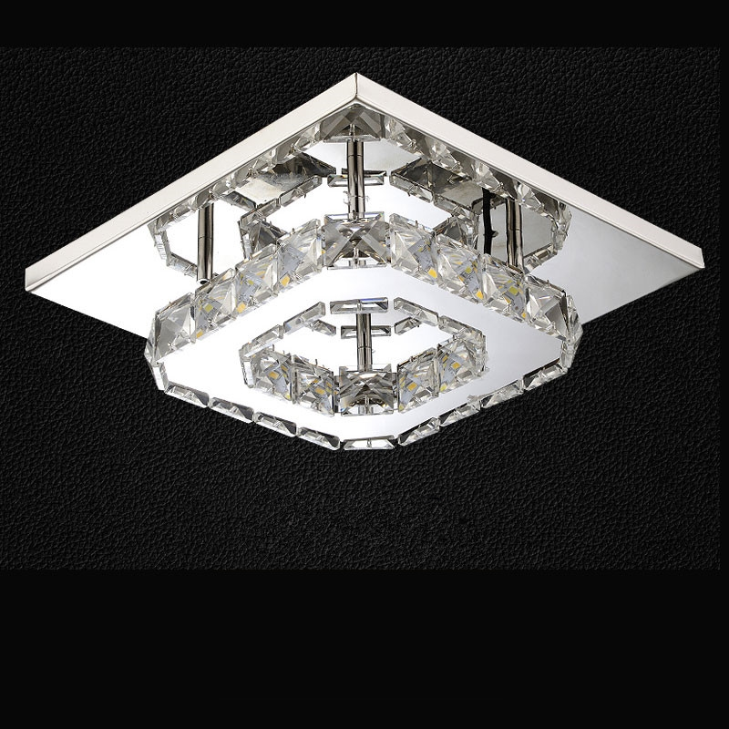 Modern Square Crystal Stainless Steel LED Ceiling Light/Lamp Lustre Luminaria for Home Kitchen Balcony Aisle Corridor Fixtures simple style ceiling light wooden porch lamp square ceiling lamp modern single head decorative lamp for balcony corridor study