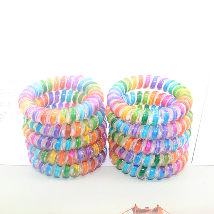 2pcs New Women Headwear Fashion Telephone Line Hair Ring Elastic Hair Bands High Quality Candy Color Hair Rope Ponytail Holder