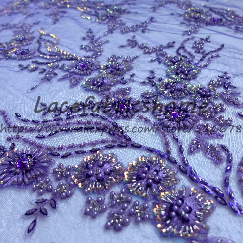 One yard 130cm purple red heavy beaded on net embroidery wedding bridel lace fabric weddingstyle fashion