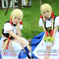 Hetalia Axis Powers Liechtenstein Fashion Maid Cosplay Costume Lolita Cloth for Halloween Shirt+Vest+Skirt+Apron+Belt+Headband