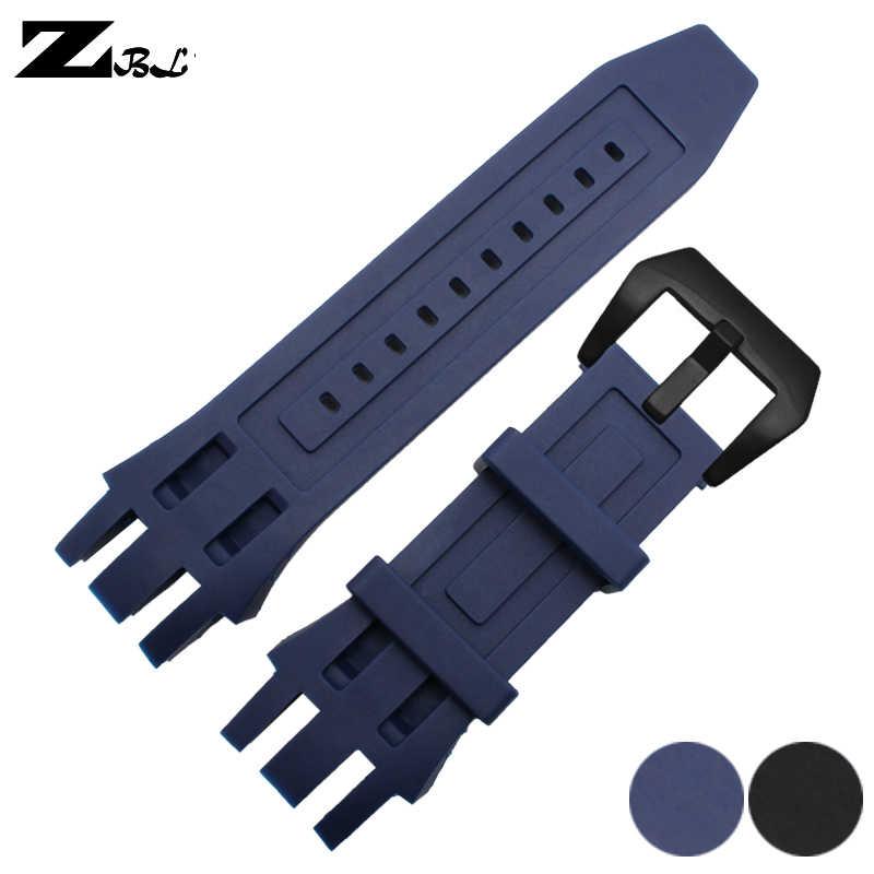 Correa de silicona de goma de alta calidad 26*26mm para reloj invicta correa de reloj impermeable correa de reloj pulsera de silicona azul negro