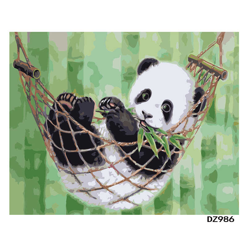 panda China Animal Cartoon DIY Digital Painting By Numbers Modern Wall Art Canvas Painting Unique Gift Home Decor 40x50cm