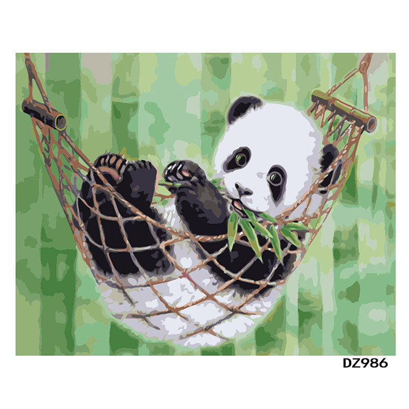 Animal dos Desenhos Digital por Números Original do Presente China Panda Animados Diy Pintura Arte da Parede da Lona Moderna Pintura Home Decor 40×50 cm