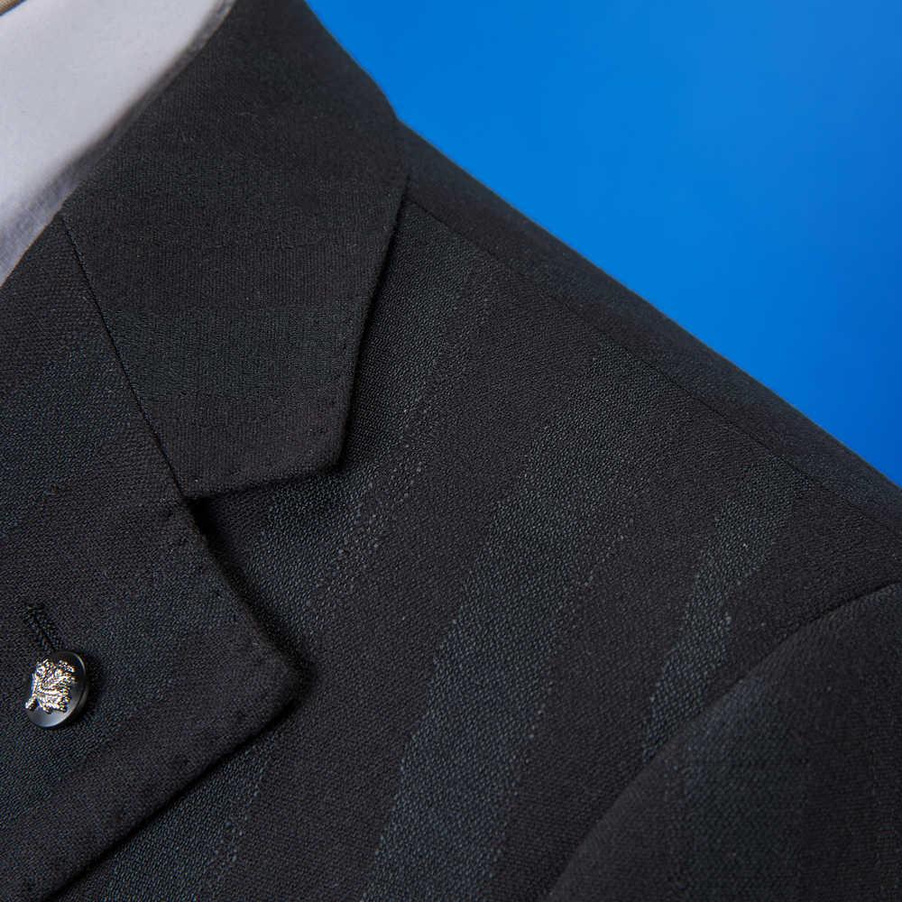 OSCN7 2019 ストライプカスタムメイドスーツ男性スリムフィットウェディングパーティーメンズオーダーメイドスーツファッション 3 ピースブレザーパンツベスト DM-023
