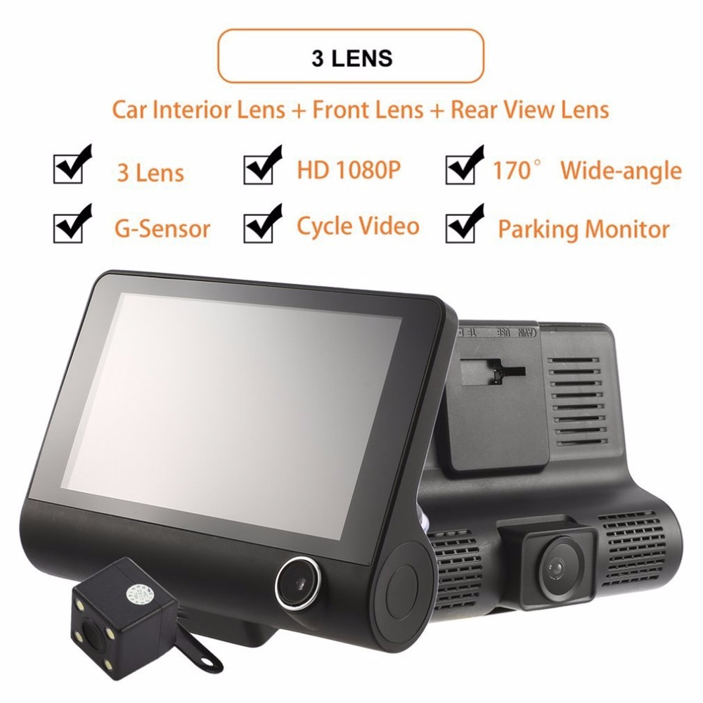 лучшая цена 4 Inch HD 1080P 3 Lens Car DVR Motion Detection & Parking Monitor Dash Cam Vehicle Video Recorder with Rearview Camera