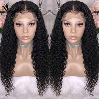 Nemer 360 Lace Frontal Wigs with Baby Hair Brazilian Remy Curly Human Hair Lace Front Wigs Natural Black Color for Women