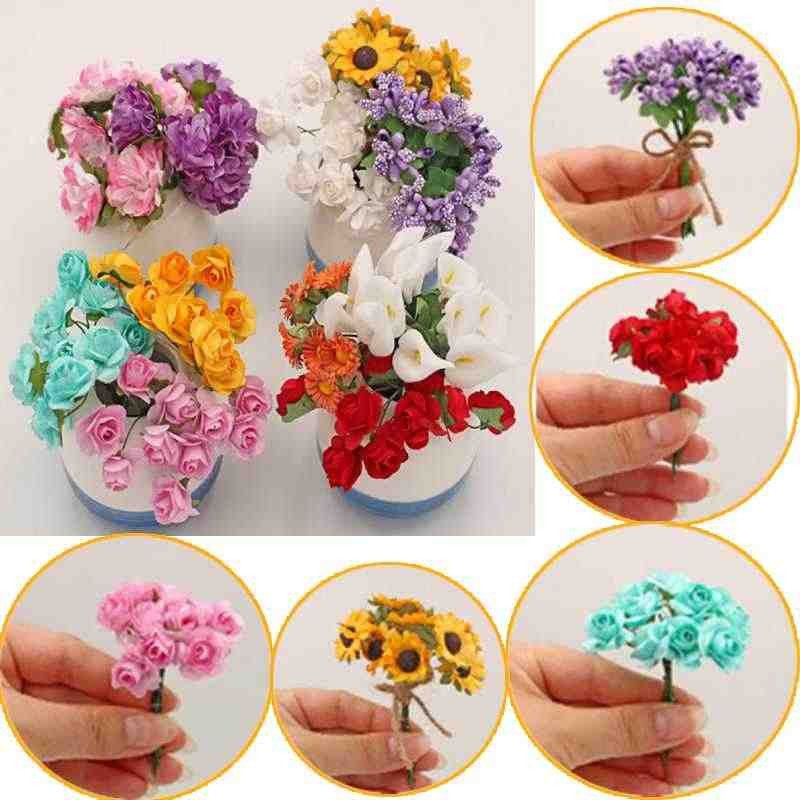 10 Styles Handmade Fake Purple Lavender Bouquet Sunflower Calla lily Doll Decor Artificial Flowers For Doll House Carnation Rose