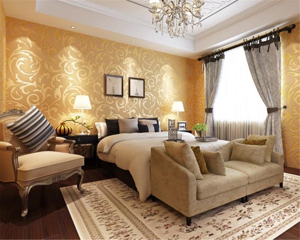 Купить с кэшбэком wallpaper for walls 3 d European HD Wallpaper 3d Bedroom desktop Wallpaper Beige yellow silver gray 3d wallpaper roll Beibehang