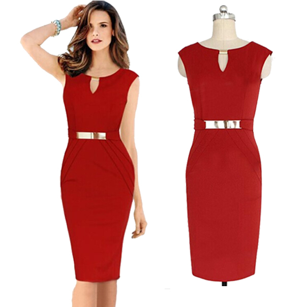 2015 Hot Sale Women Summer Pencil Dress Sleeveless O Neck Red Blue ...
