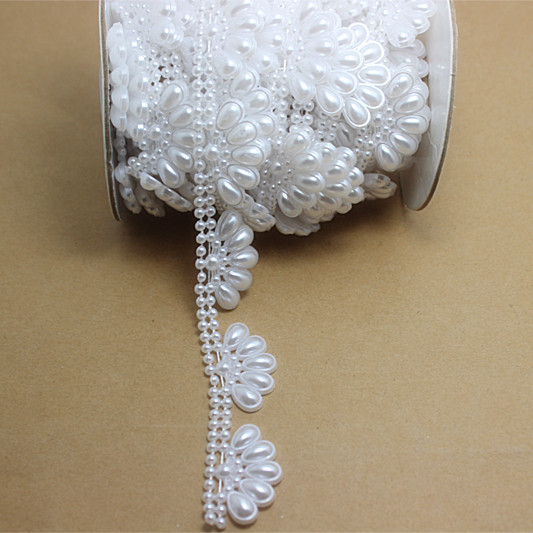 5m/roll New Crown shape Flatback Imitation Pearls Chain Resin ABS for DIY Wedding Dress Garment Decoration,V34