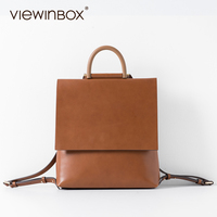 Viewinbox Ladies Leather Backpack High Quality Flip Backpack Student Women Bag Leather With Removable Handle