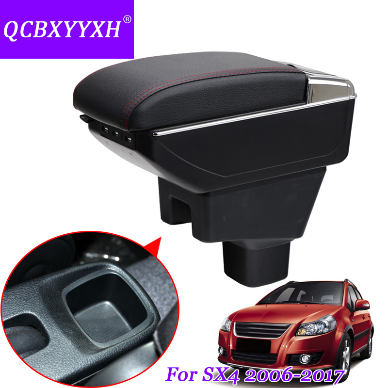 QCBXYYXH Car Armrest Box For SUZUKI SX4 2006-2017 Central Store Content Box With Cup Holder Ashtray Interior Decoration Cover qcbxyyxh for chevrolet sail 3 armrest central store content storage box with cup holder ashtray abs leather accessory 2015 2018