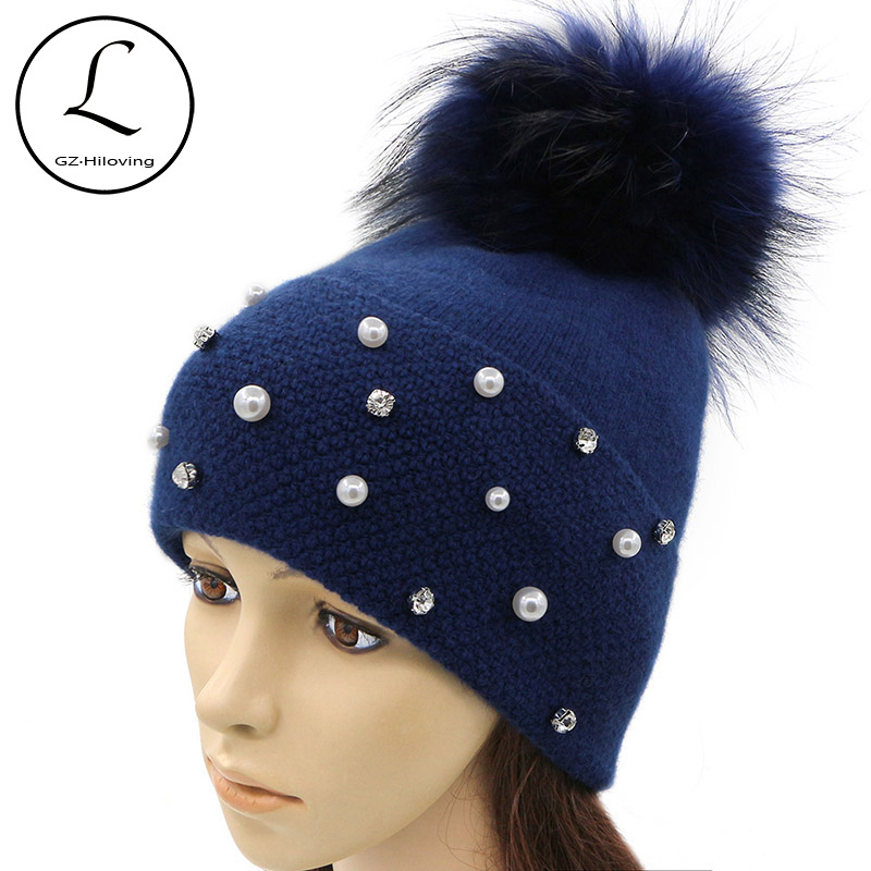 GZHILOVINGL Brand Women Winter Skullies Beanie Hat Rabbit Wool Knitted Hat With Real Fur Pom Pom Rhinestone Pearl Hats For Women skullies