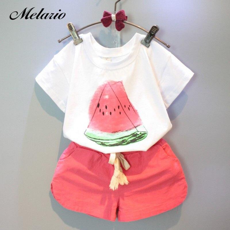 New Girls Clothing Sets 2019 Summer Casual Style Fashion Watermelon Print Design Short Sleeve + Pants 2Pcs Kids Clothing Sets