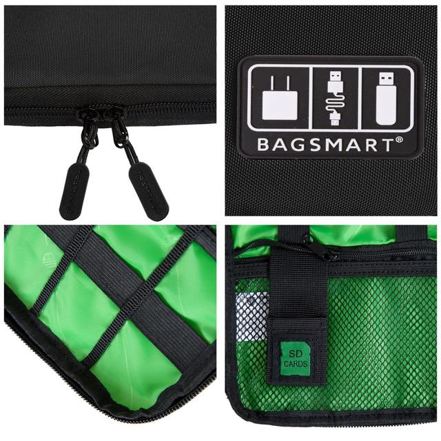 BAGSMART Accessori elettronici Imballaggio organizzatori per Case Valigia pacchetto auricolare USB Card SD cavo del caricatore di dati Travel Bag