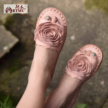 Summer flower genuine leather women sandals female casual comfortable flat soft outsole open toe women slippers K3958