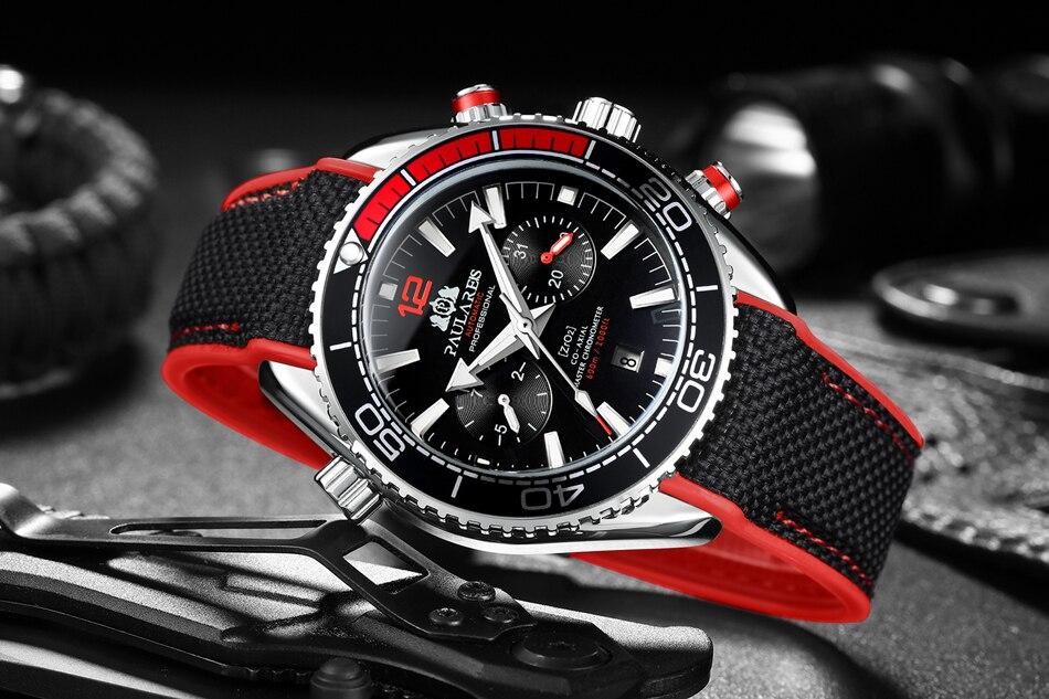 HTB1Uw0fd.GF3KVjSZFvq6z nXXa2 Automatic Self Wind Mechanical Canvas Rubber Strap James Bond 007 Style Orange Blue Red Multifunction Date Month Men Sport Watch