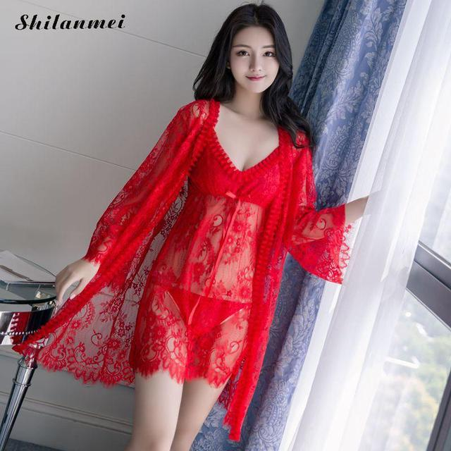 Sexy Nightie Women Bathrobes Robe Set High Quality Lace Nightdress + G- String Net Yarn Spaghetti Strap Nightgown Dress For Women 1b42bca1f