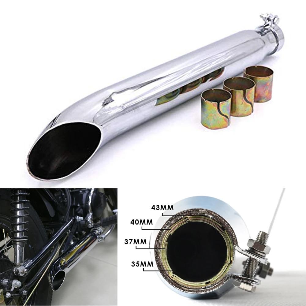 35mm 39mm 43mm chrome reverse cone motorcycle exhaust pipe muffler silencer for harley cafe racer chopper bobber custom bike