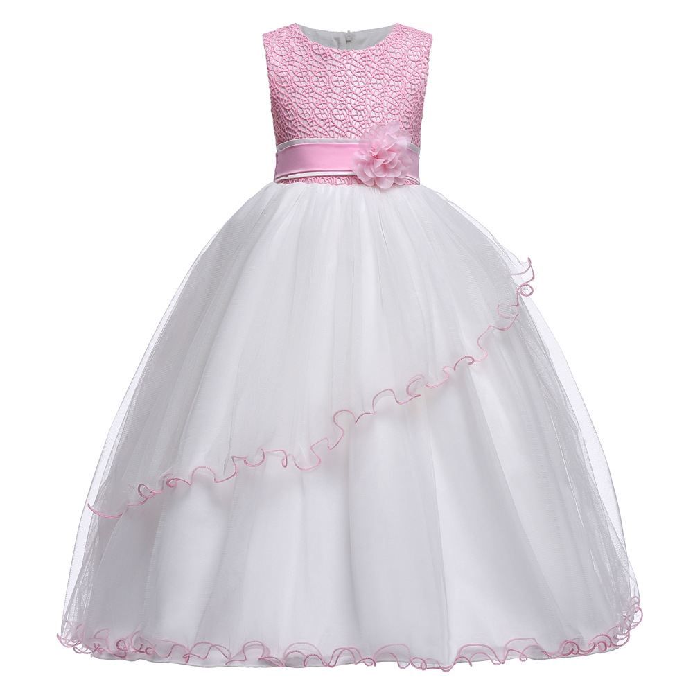 Lace Teenagers Kids Girls Wedding Long Girl Dress Elegant Princess Party Pageant Formal Dress Sleeveless Girls Clothes Flower wholesale lace applique girls dress kids clothes tassel wedding dress girl flower belt party dress 12pcs lot free dhl t356