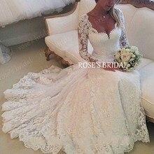 superkimjo Lace Wedding Dresses 2017 Long Sleeve Elegant