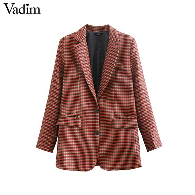 Vadim women fashion plaid blazer pockets long sleeve notched collar coats female casual office wear casaco feminine tops CA126