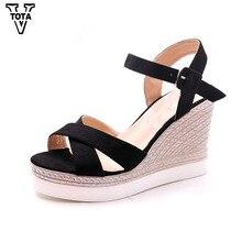 Vtota модная летняя обувь женские сандалии Обувь на высоком каблуке и платформе на танкетке женские сандалии с открытым носком Повседневная Zapatos Mujer X28
