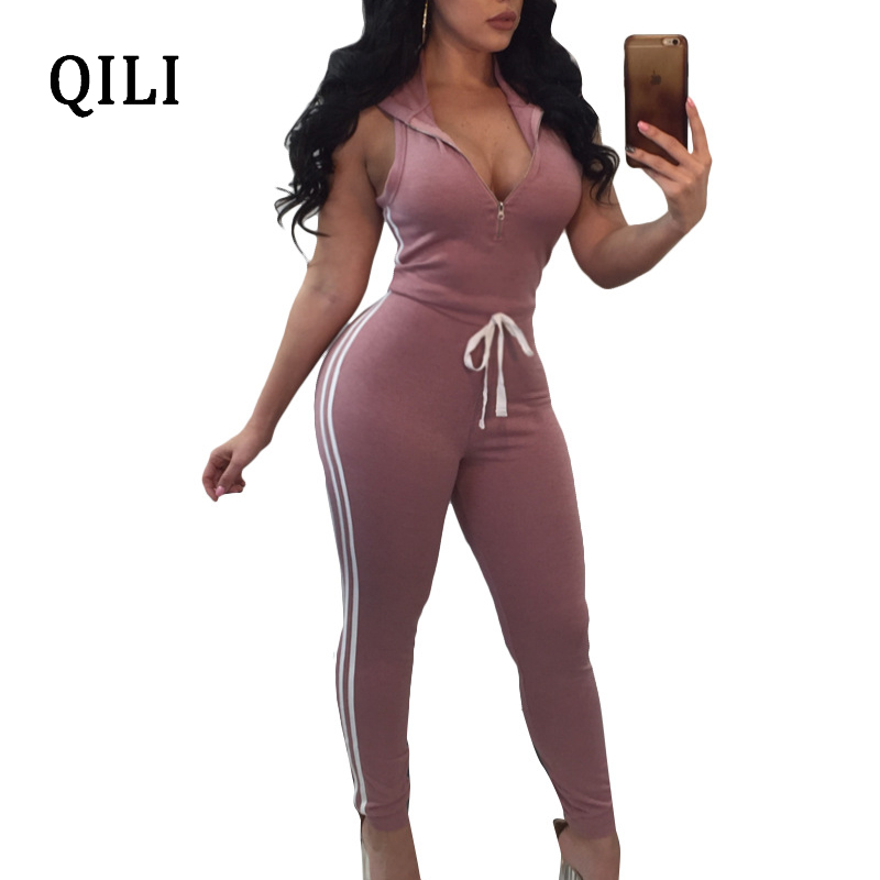 QILI Women Hoodies Lace Up Jumpsuit Romper Front Zipper V Neck Sleeveless Side Striped Skinny Jumpsuits Overalls Pink Black