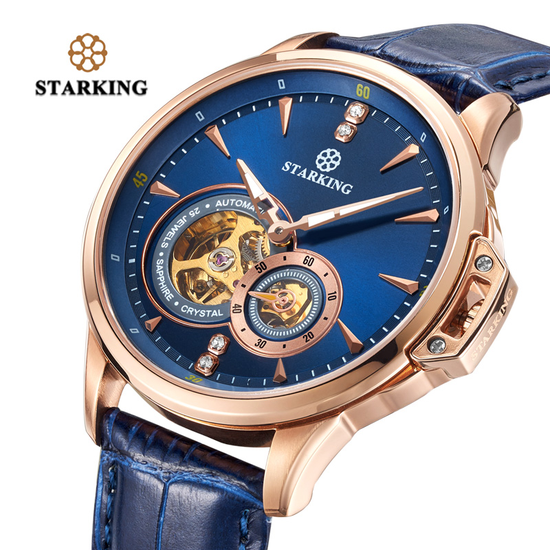 <font><b>STARKING</b></font> Men Watch Deep Blue Skeleton Mechanical Wristwatches Classic Design Male Clock Genuine Leather <font><b>Automatic</b></font> Watches 5ATM image