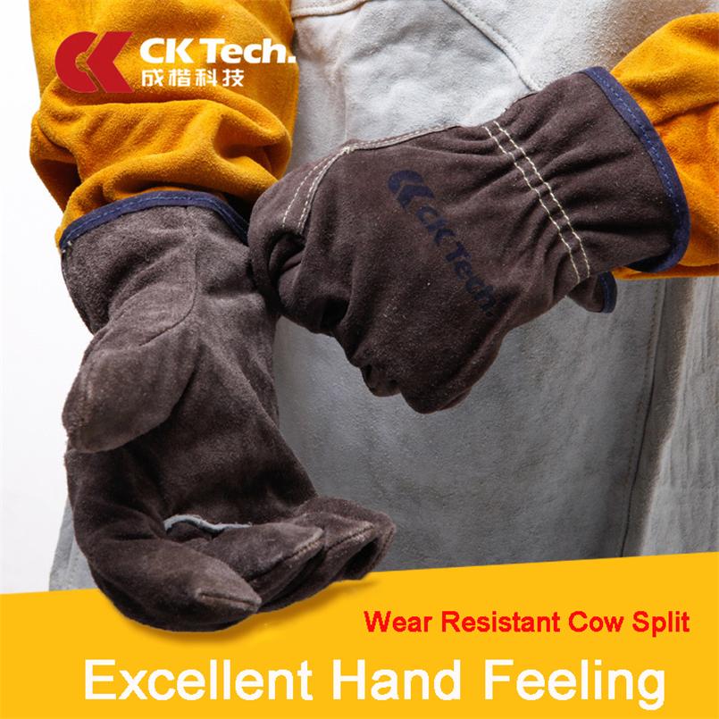 CK Tech. Welders Gloves Anti-Cut Temperature Resistant Cow Split Leather Gardening Welding Work Safety Gloves