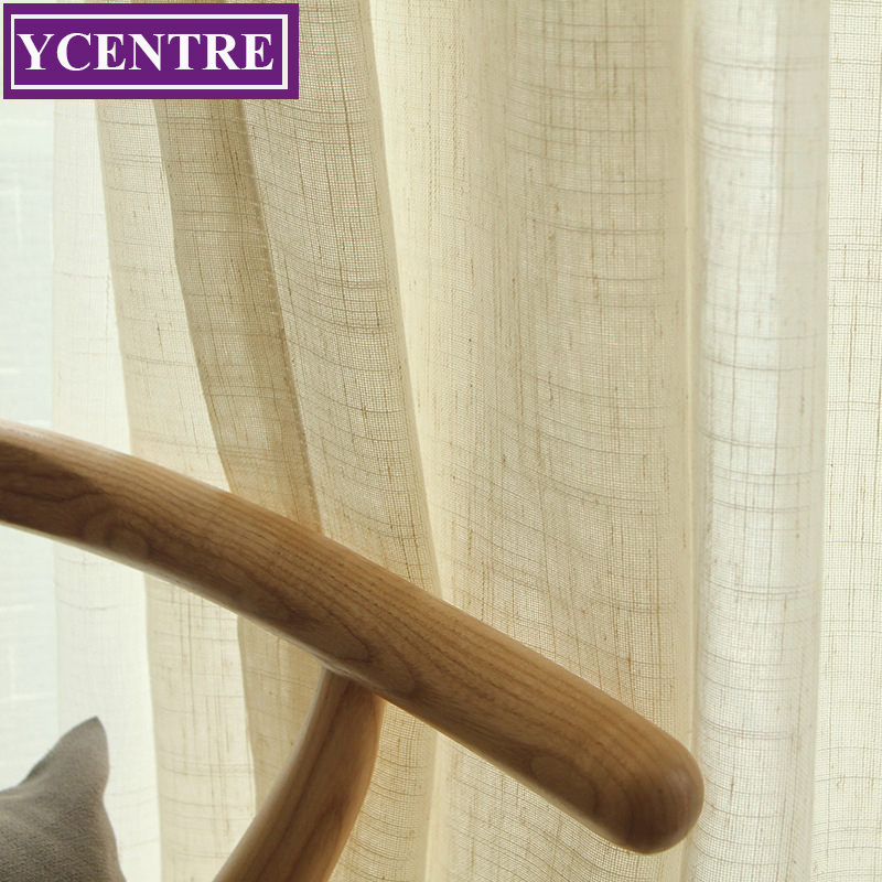 YCENTRE 10% Linen Solid Color Mondern Style Window Treatment Semi Voile Sheer Curtain for Living Room/Kitchen Curtains/Bedroom