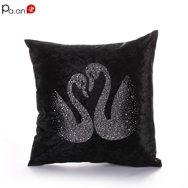 Pa an Elegant Cushion Cover Crystal Diamond Double Love Heart Velvet Satin Silk Feeling Luxury Valentine Home Decorative in Cushion Cover from Home Garden