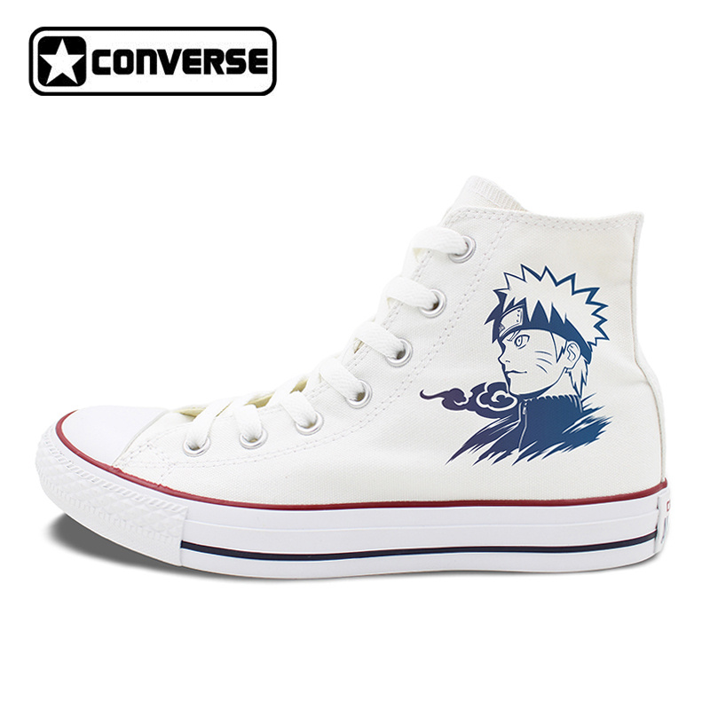 Men Women Converse Chucks Skateboarding Shoes Anime Uzumaki Naruto High Top White Black Canvas Sneakers