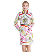 New Autumn Designer fashion shirt Two Pieces Sets Womens Long sleeve long green blouses + Vintage panda Print mini skirt