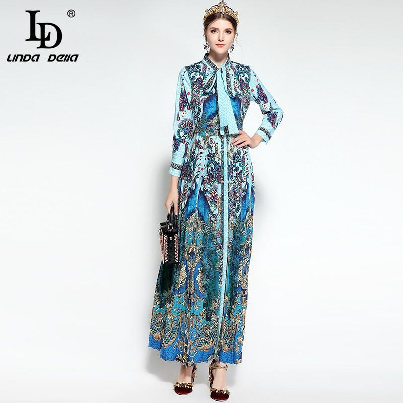 LD LINDA DELLA Fashion Designer Runway Maxi <font><b>Dress</b></font> Women's Long Sleeve Bowknot Tie Floral Print Draped Pleated Vintage Long <font><b>Dress</b></font>
