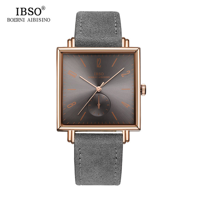 2018 IBSO 8 MM Ultra-thin Square Case Design Mens Watches Genuine Leather Strap Fashion Luxury Quartz Watch Men Business Clock marussia genuine diamond lattice design ultra thin waterproof fashion business men quartz watch authentic leather band watches by lntgo