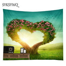 Tapestry Forest Wall Hanging Flower Tree Heart bohemian Psychedelic Tenture Hippie Valentine Carpet Cloth