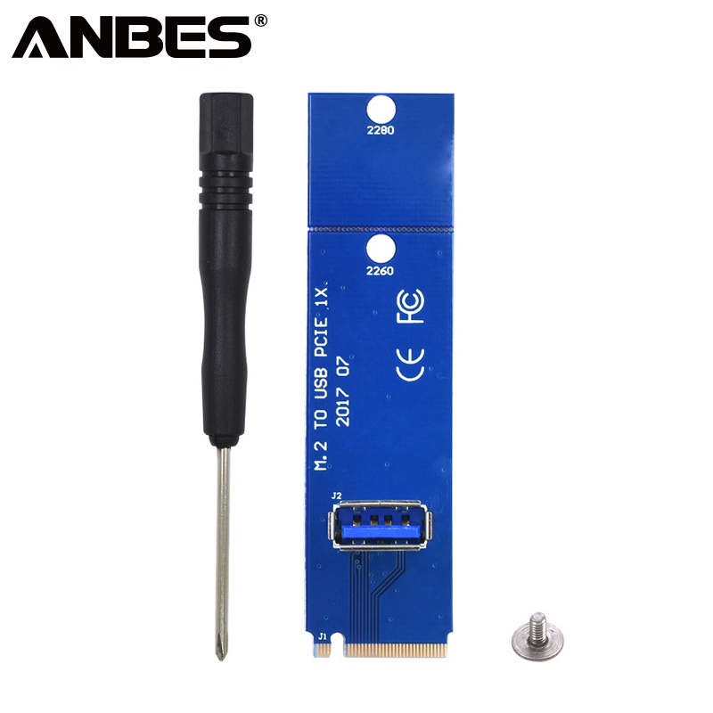 ANBES PCI Express Riser Card Adapter NGFF M2 M.2 to USB 3.0 PCI-E PCI Express Male To Female Multiplier For BTC Miner Mining