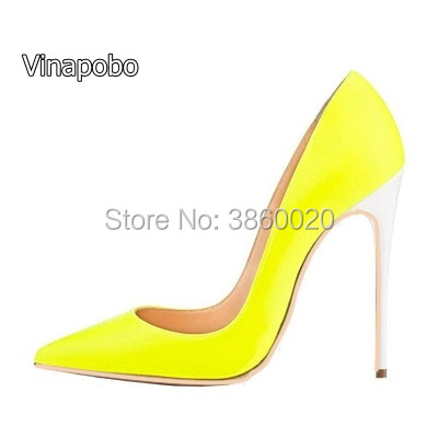 Vinapobo Women Sexy Fluorescent green Pink Leather Pointed Toe Shoes  Stiletto High Heels Slip-on 90674bb5c1be