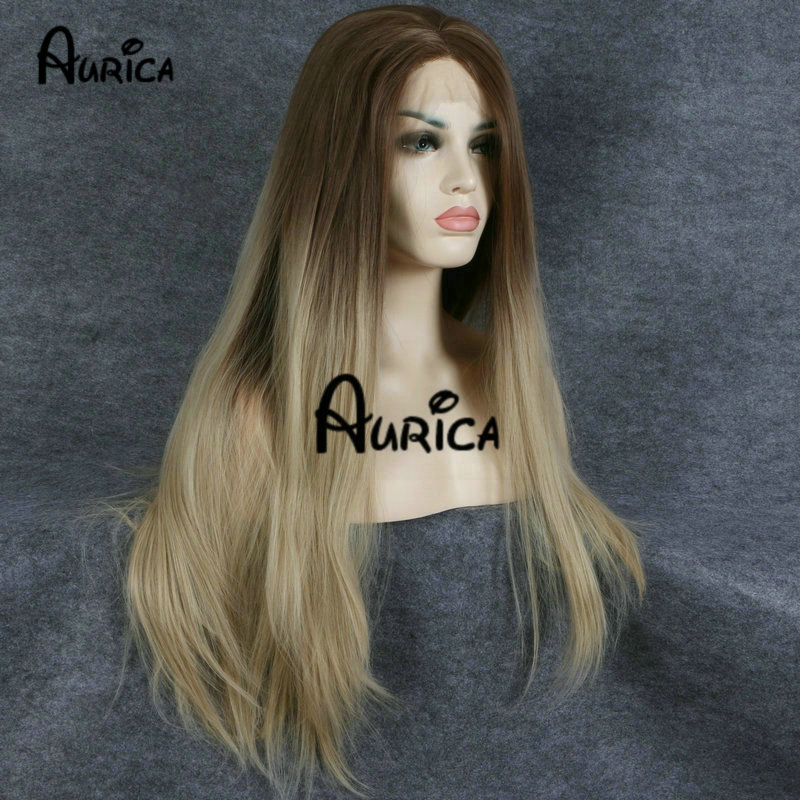 ФОТО Lace Wig Synthetic Women Heat Resistant Wigs Ombre Honey Golden Brown To A Gorgeous Vivid Blonde Ombre  Blonde Lace Front Wigs