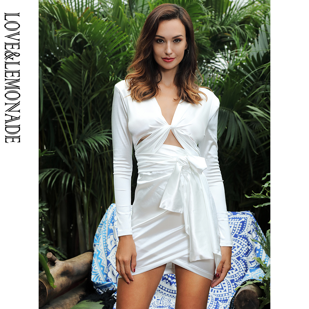 Liebe & Limonade Tiefe V ausschnitt Ausschnitt Schulter Pad Schlank Fit Party Kleid LM81565 WEIß-in Kleider aus Damenbekleidung bei AliExpress - 11.11_Doppel-11Tag der Singles 1